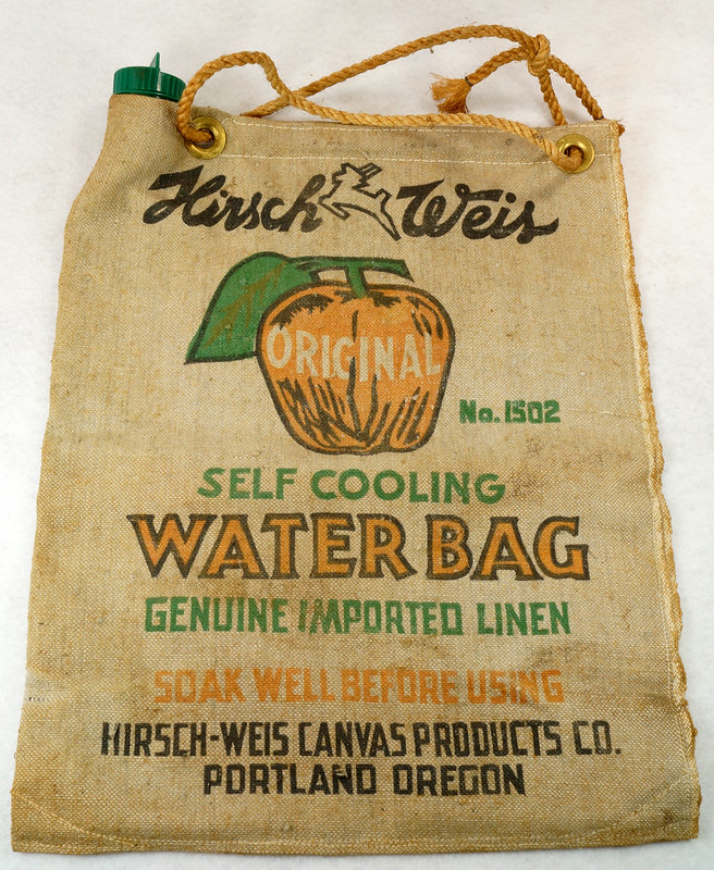RD14937 Vintage Hirsch Weis Canvas Self Cooling Water Bag No. 1502 Portland, Oregon DSC06768