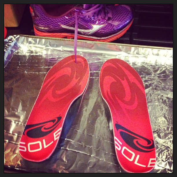 I didn't cook dinner tonight (Steve did)... but I did cook my new insoles.  #motherrunner