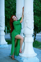 Toma, long green dress