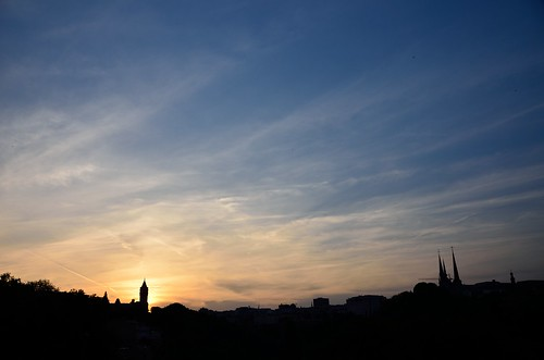 Luxembourg skyline contre-jour from Pont Viaduc by kewl