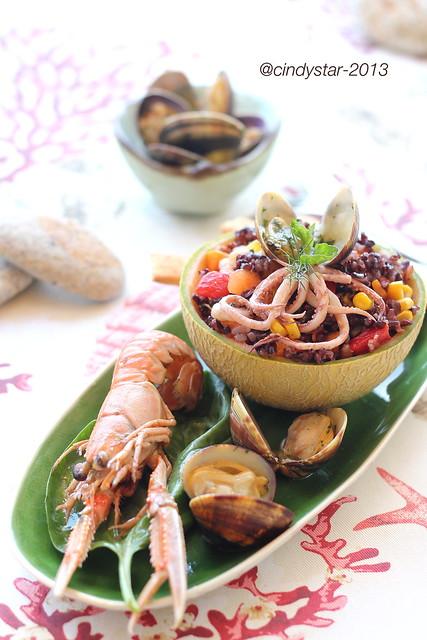 insalata fresca di mare con riso venere