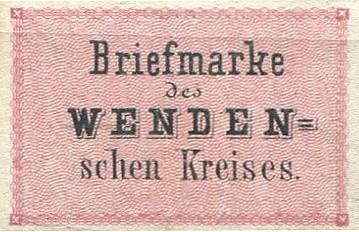 """Pirmā pasta vērtszīme Latvijas teritorijā """"Briefmarke des Wendenschen Kreises"""", oriģināls"""