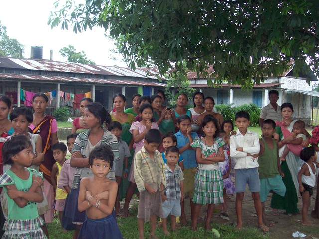 Flood affected people take refuge at a relief camp at High School, Somkong, Dhemaji. More than 35 villages in Dhemaji were completely submerged, and several thousands of people had shifted to higher ground. Around 1500 people have been provided shelter in seven relief camps in Dhemaji and Chirang districts. Floods have also affected the Pobitora Wildlife Sanctuary and Kaziranga National Park. Several roads and bridges have been washed away in the flood affected areas.