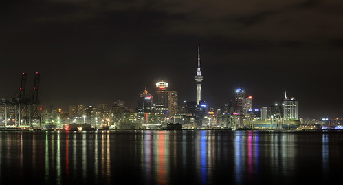 longexposure newzealand reflection skyline night port canon lights auckland skytower ef50mmf18ii hdr devonport aucklandcity waitemataharbour 550d t2i canoneos550d