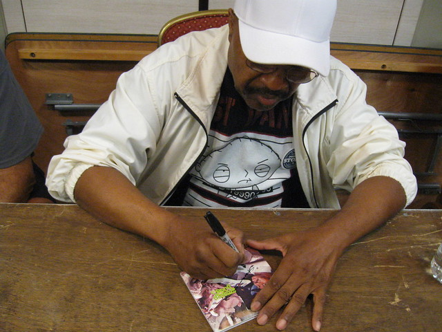 Swamp Dogg signs my CD at the Ponderosa Stomp Record Show Thursday