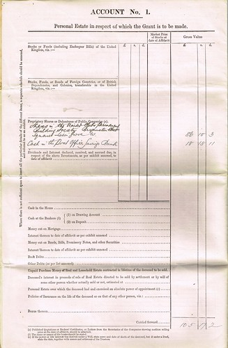 Affidavit for HM Inland Revenue Probate of Jane Marr, Middlesex 1894  p2