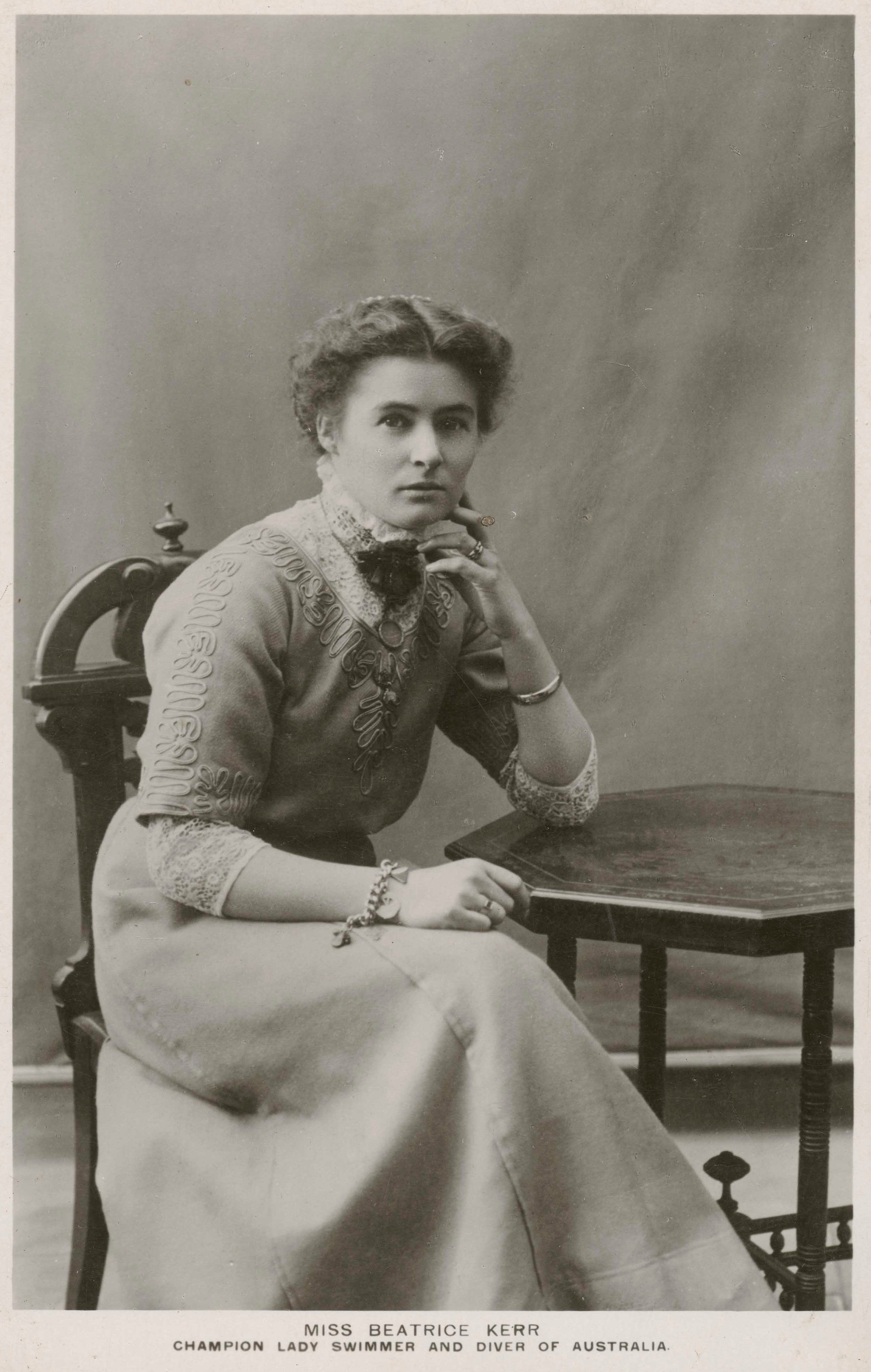 Postcard featuring a photograph of Beatrice Kerr