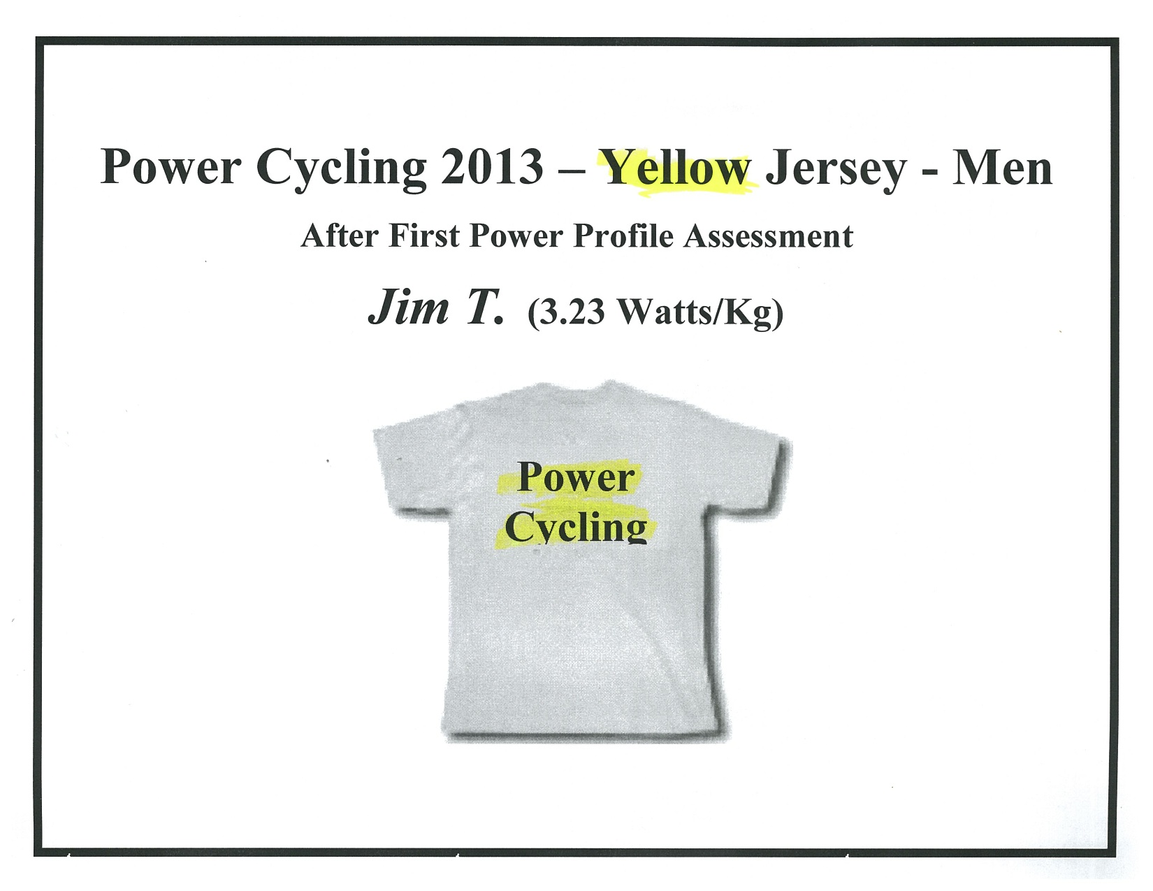 FTP test 1 yellow Jersey