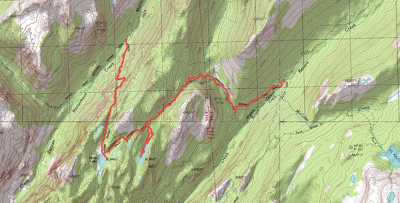 Topographic Map of our seventh day's hike - Matterhorn Canyon to Virginia Canyon on the PCT