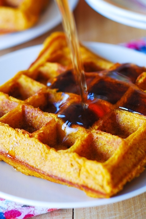 Pumpkin waffles with maple syrup, Thanksgiving breakfast recipes, Fall recipes, pumpkin recipes, buttermilk waffles