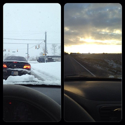 On the left, getting on the road in South Bend. On the right, about an hour/hour and a half or so later just outside of Rochester.