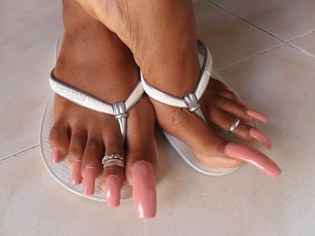 image Ebony long toenails footjob