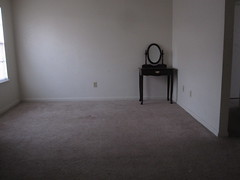 The old carpet is completely removed and new carpet is installed