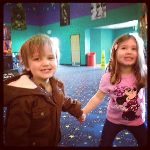 Took Jameson to see his first movie, Frozen, with Lily. He did so great!