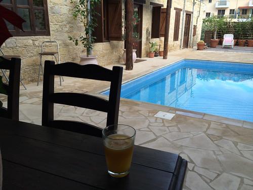 Orange juice at the pool