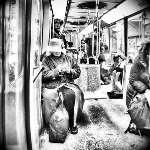 This old lady is level 66 at Clash of Clan #mtl #montreal #quebec #stm #metro #bw #public #transport #people #clashofclan #socialgames #app #mobile #snapseed