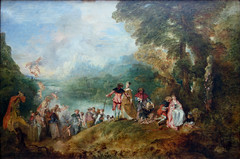 """-Painted the """"Pilgrimage to the Island of Cypthera"""" (painted in 1717) -has been seen as the originator and for some the great practitioner of the Rococo style in painting"""