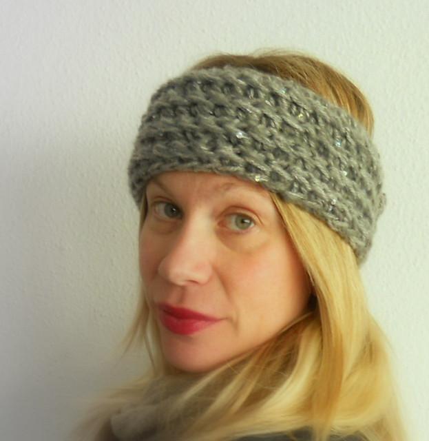 Turbante lana gris c/lentejuelas
