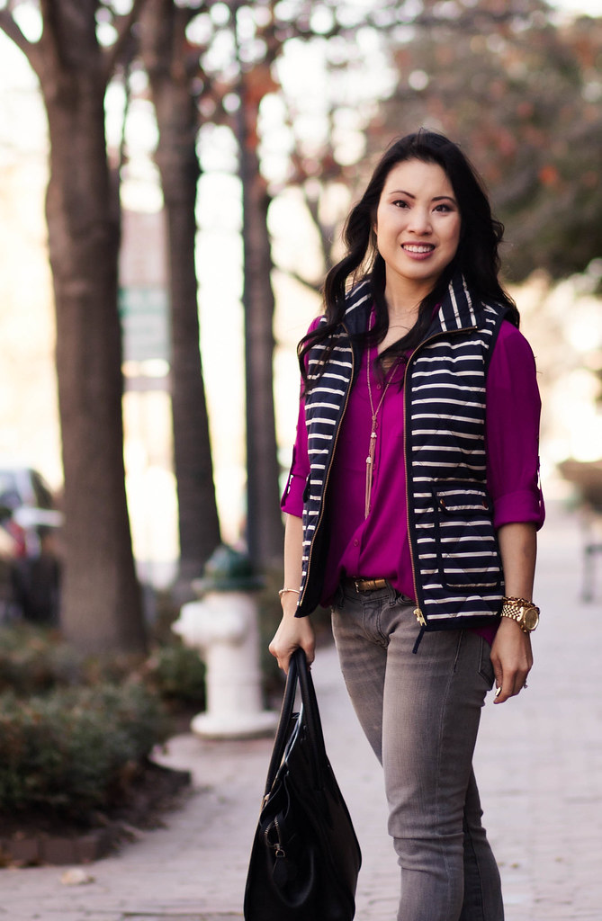 cute & little blog | radiant orchid shirt, j. crew excursion striped vest, gray skinny jeans, tassel necklace, ray ban mirrored sunglasses casual outfit