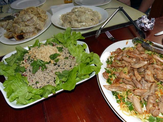 Pot stickers, steamed dumplings, larb gai, chicken noodle salad yumminess