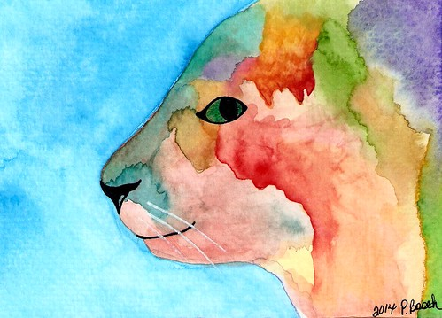 Abstract Watercolor Kitty by pixygiggles