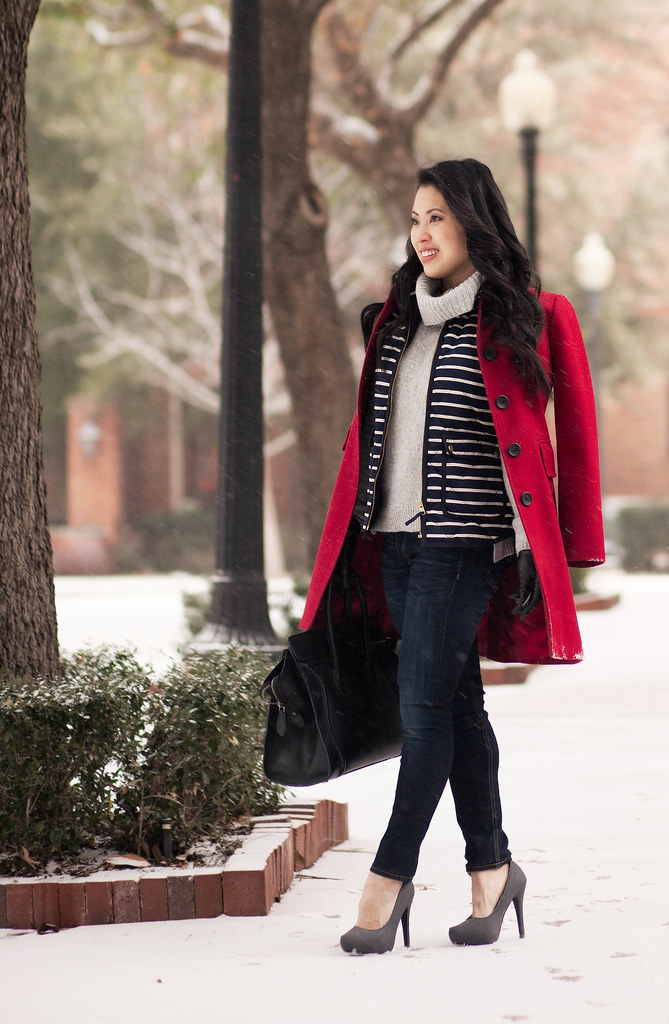 cute & little blog | red coat, striped vest, gray cowl sweater, leather gloves | winter cold weather layers outfit