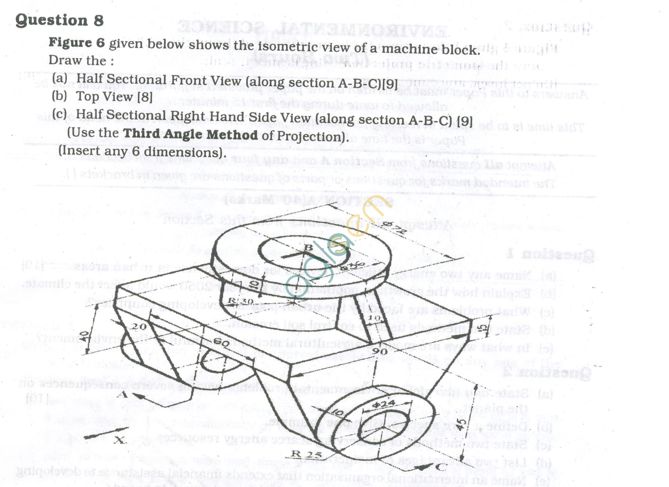 ICSE Question Papers 2013 for Class 10 - Technical Drawing Applications