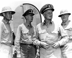Adm. Chester W. Nimitz, second from right, and other senior officers visit Saipan in 1944. Included are (from left to right) Adm. Raymond A. Spruance; Adm. Ernest J. King; and Brig. Gen. Sanderford Jarman, U.S. Army. (U.S. Navy photo)