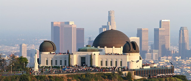 Griffith Observatory flanked by downtown Los Angeles