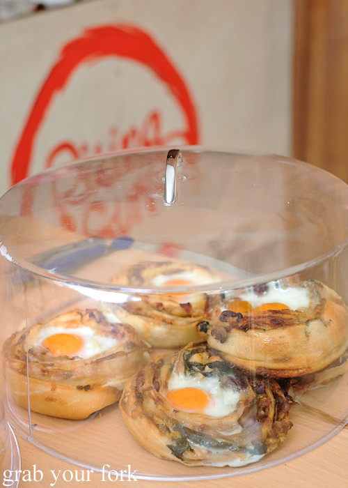 Egg and bacon scrolls by Strawberry Fields Patisserie at Rising Sun Workshop, Newtown