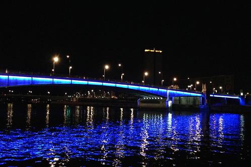 Lighted bridge in Rouen