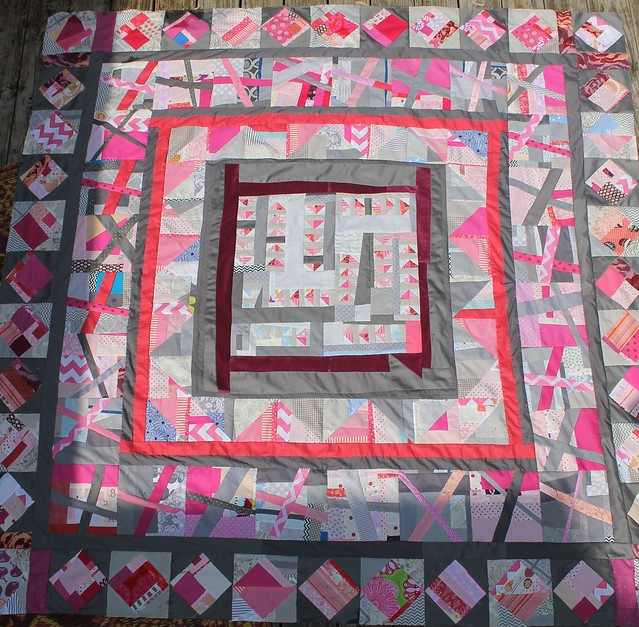 Mad Farmers Medallion Pink Scrap Quilt