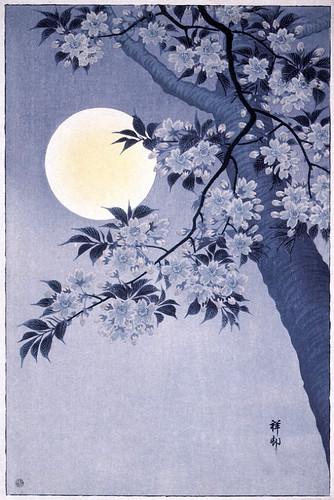 001-cerezo florecido en una noche de luna-Ohara Koson-via Lacma