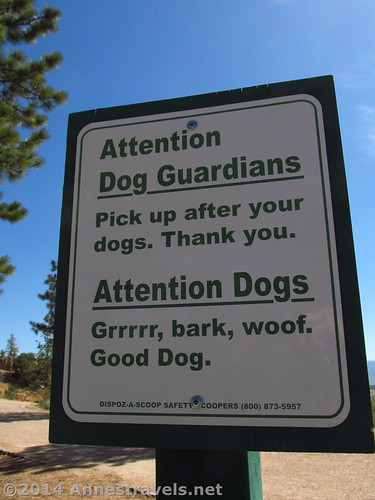 Funny Sign...Attention, Dogs... Along the Rim Trail, Bryce Canyon National Park, Utah