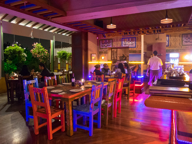 The colorful chiva dining room offers a more festive atmosphere