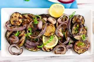Grilled Zucchini & Red Onions with Lemon-Basil Vinaigrette