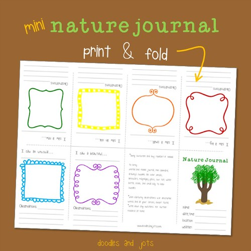 Mini Nature Journal Printable (Photo from Doodles and Jots at Artchoo)