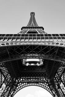 Image of Eiffel Tower near Paris 16. blackandwhite eiffeltower lowangleshot paris france fra
