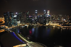 Singapore skyline at night from Marina Bay Sands