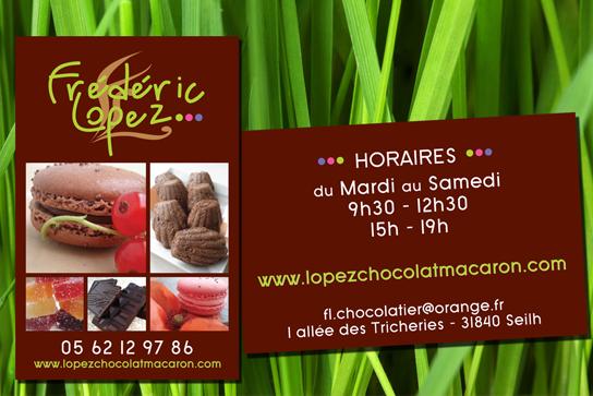 Création et impression des cartes de visites de la Chocolaterie Lopez à Seilh (31).