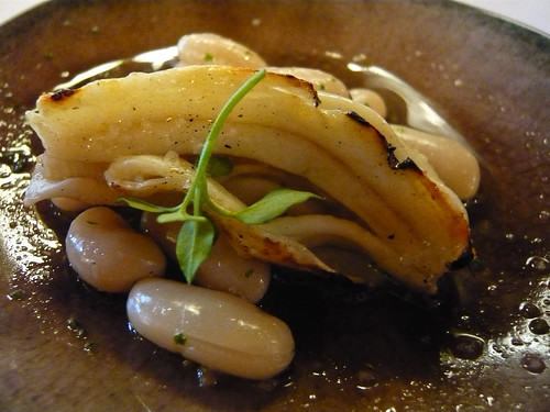 Sea cucumber on white beans
