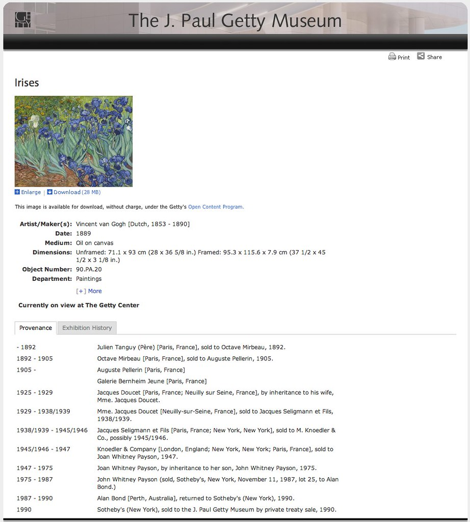 Getty Search Gateway Museum van Gogh Irises Page