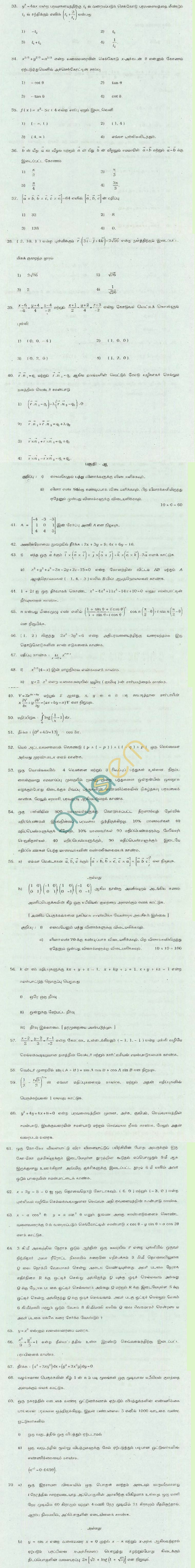 TN Board Higher Secondary (Plus 2) Mathematics Question Papers March 2011