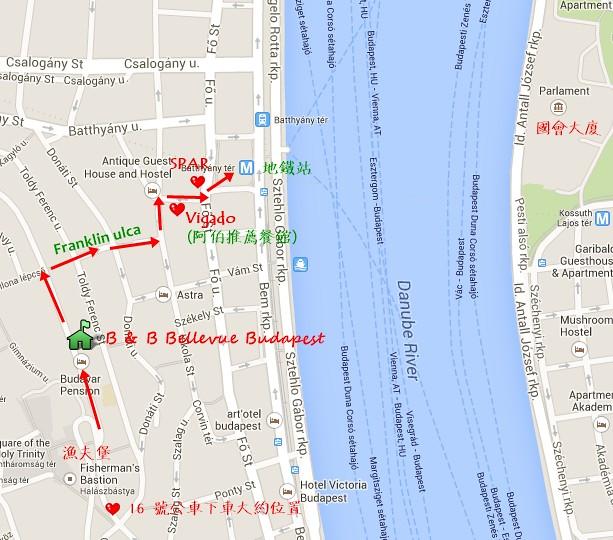 布達佩斯民宿地圖