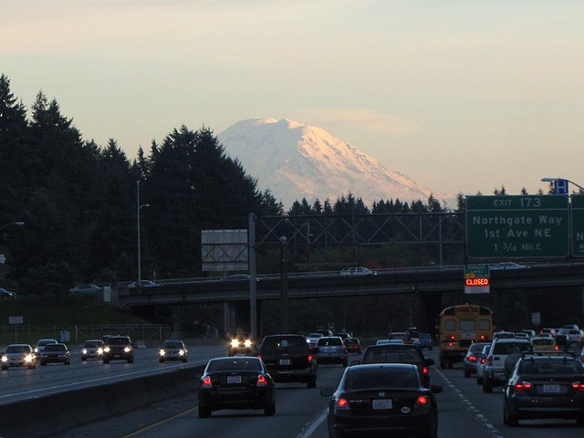 Mount Ranier rising over the I-5