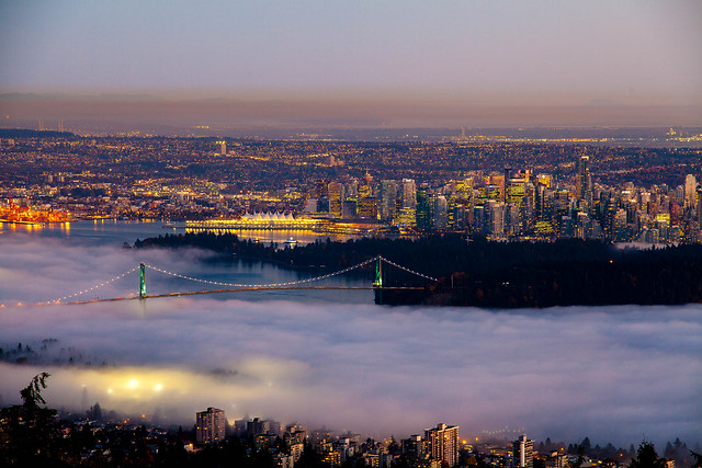 Fog rolling into Vancouver