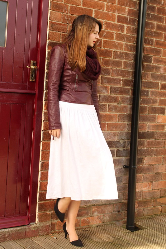 Snood, leather jacket, vintage midi dress, heels