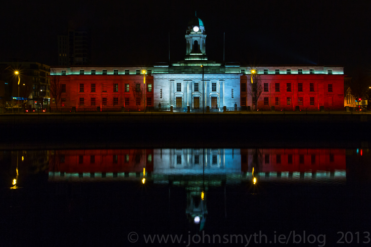 Cork City Hall wearing the Cork  colours