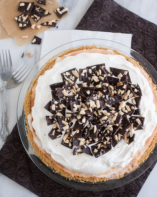 Pumpkin Ice Cream Pie with Chocolate-Almond Bark and Toffee Sauce ...