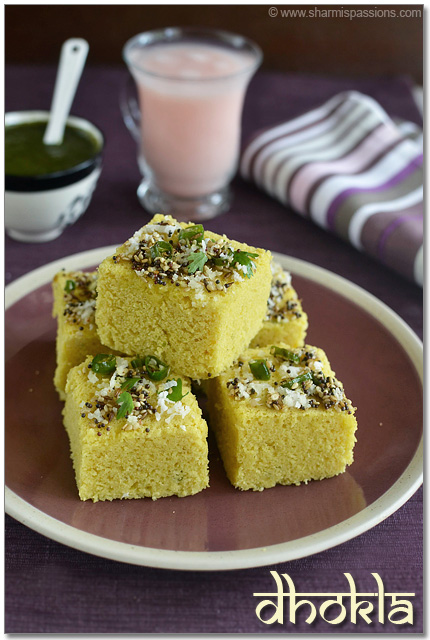 Dhokla recipe gujarati khaman dhokla sharmis passions dhokla is a popular gujarati snack made traditionally with bengal gram lentil but now for convenience and instant version we use besan flour forumfinder Choice Image